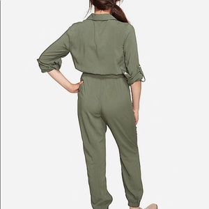 Justice • olive button-up pant jumpsuit size 7